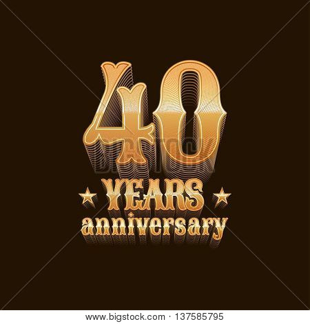 40 years anniversary vector logo. 40th birthday decoration design element sign emblem symbol in gold