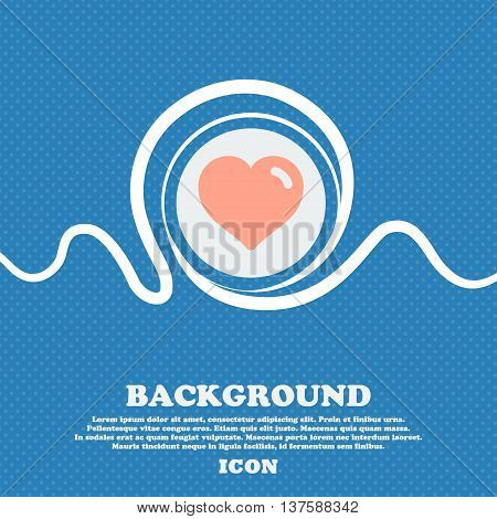Heart, Love  Sign Icon. Blue And White Abstract Background Flecked With Space For Text And Your Desi
