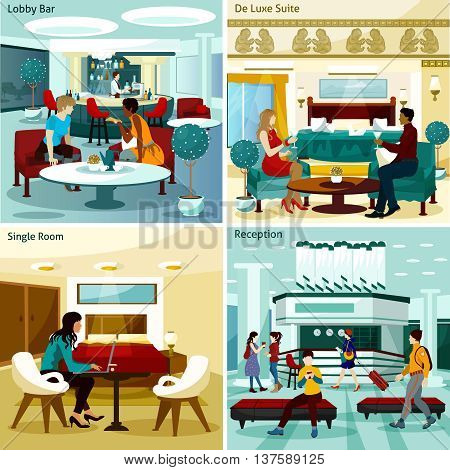 Hotel Interior Concept. Hotel Interior Vector Illustration. Hotel Interior Flat Icons Set. Hotel Interior Design Set. Hotel Interior Isolated Elements.