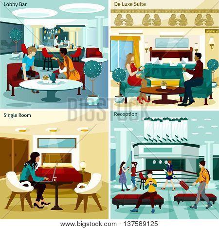 Hotel Interior Concept. Hotel Interior Vector Illustration. Hotel Interior Flat Icons Set. Hotel Interior Design Set. Hotel Interior Isolated Elements.