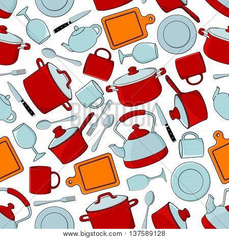 Seamless cooking utensils and dinnerware, silverware and glassware pattern background with red cooking pots and saucepans with lids, dinner plates, spoons and forks, knives and cutting boards, teapots, cups and wineglasses