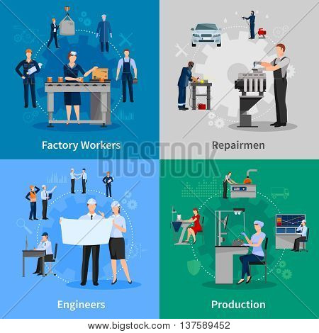 Colorful 2x2 compositions with professionals at work presenting factory workers repairmen engineers and production flat vector illustration