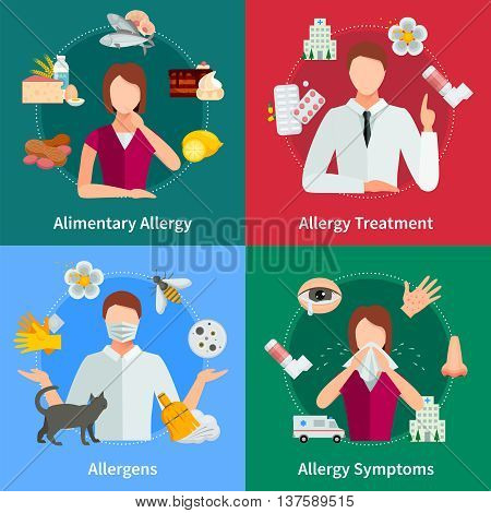 Allergy And Treatment Concept. Allergy Vector Illustration. Allergy Flat Icons Set. Allergy Design Set. Allergy Isolated Elements.