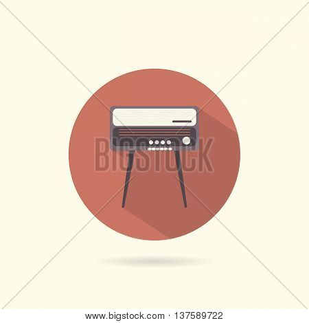 Radiogram round flat icon. Retro style. Vector illustration.