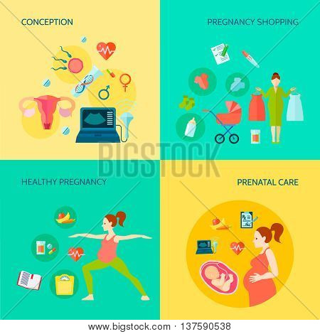 Pregnancy concept icons set with conception and prenatal care symbols flat isolated vector illustration