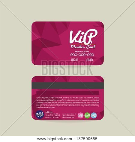 Front And Back Modern Geometric Purple VIP Member Card Template Vector Illustration. EPS 10