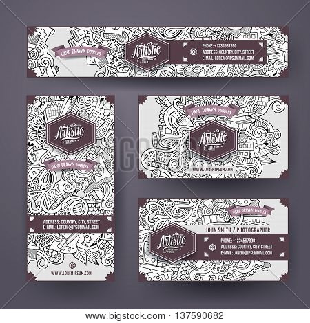 Cartoon cute sketchy vector hand drawn doodles art corporate identity set. Templates design of banners, id cards, flyer
