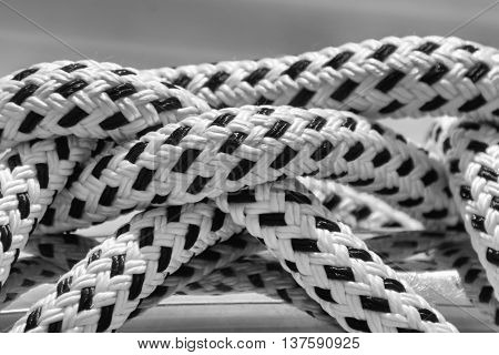 Close up from a Rope on a boat in black and white