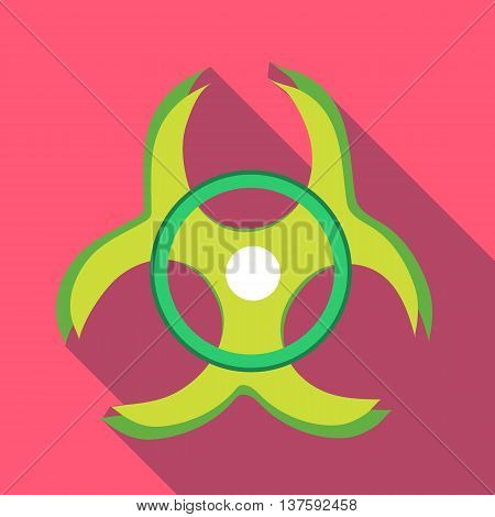 Biohazard symbol icon in flat style on a pink background
