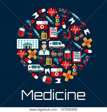 Hospital building, doctor and ambulances, first aid kits, medicine bottles and syringes, hearts, teeth and blood bags, microscopes and DNA, medical examination forms and glasses icons creating a circle symbol. Flat style