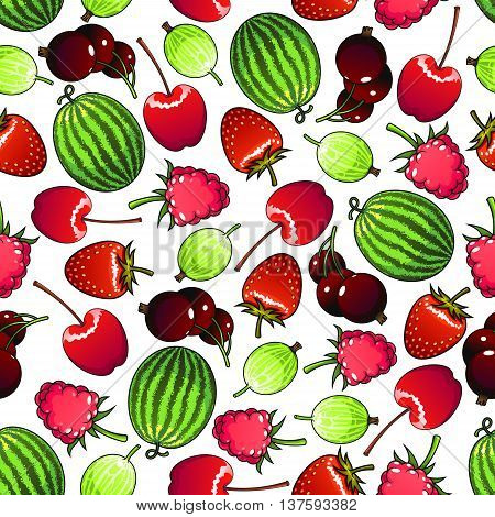 Seamless flavorful berries pattern background with forest strawberries and raspberries, sweet cherries and black currants, green striped watermelons and gooseberries. Greengrocery market or kitchen interior design usage