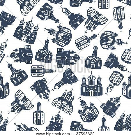 Seamless pattern of grey silhouettes of eastern orthodox churches, cathedrals and sobors with ornamental domes randomly scattered over white background. Religion architecture theme or scrapbook page backdrop design