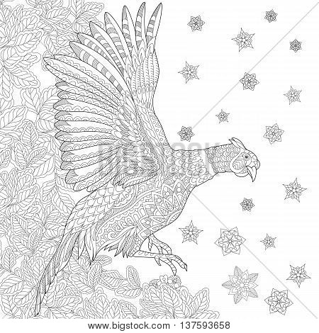 Zentangle stylized cartoon pheasant bird (cock phoenix) leaves snowflakes. Hand drawn sketch for adult antistress coloring book page T-shirt emblem tattoo with doodle zentangle design elements.