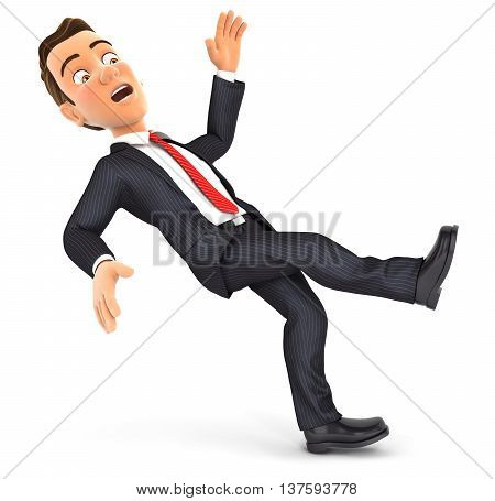 3d businessman slipping and falling illustration with isolated white background