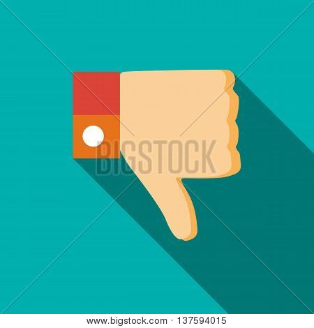 Thumb down gesture icon in flat style on a turquoise background