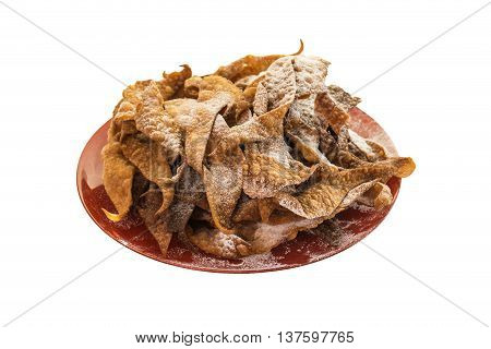 Cruller on the plate sugar powder isolated background