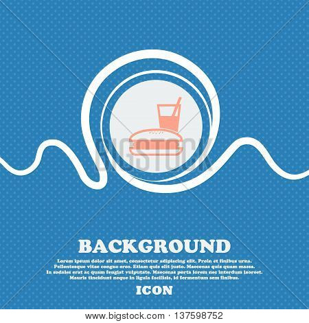 Lunch Box Sign Icon. Blue And White Abstract Background Flecked With Space For Text And Your Design.