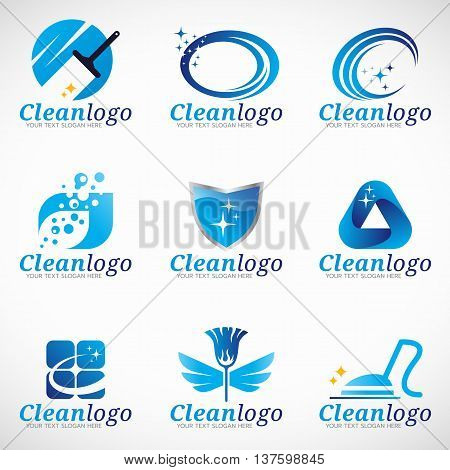 Clean and Housekeeping service logo vector set design