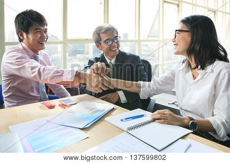 business team work meeting to conflict problem solution with good conditionshaking hand