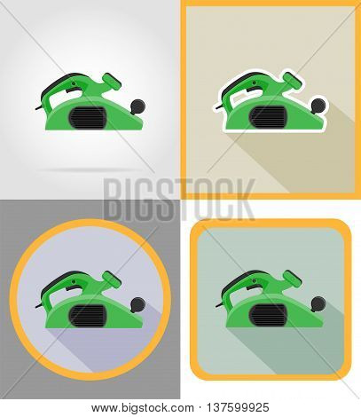 electric jointer tools for construction and repair flat icons vector illustration isolated on background