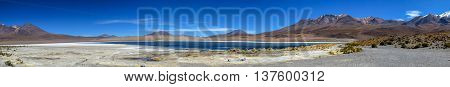 Panorama of lake and mountains at high altitude in South America