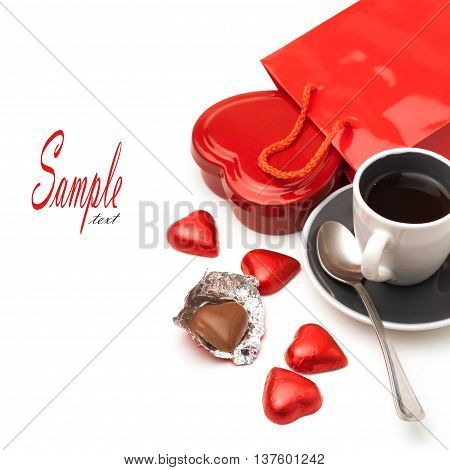 Valentine's Day composition on white background with sweets and coffee