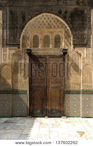 Detail of a door in the Madrasa Bou Inania in Fez Morocco