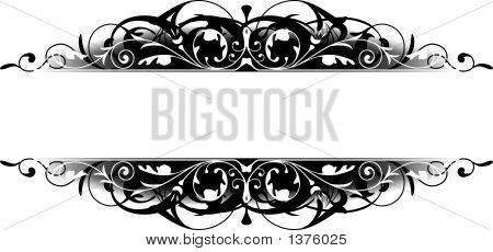 Black and white scroll border. Color is easily changed. poster