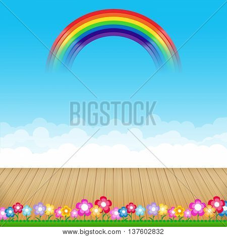 Brown wood floor with flower and blue sky rainbow background empty room with space vector illustration eps10