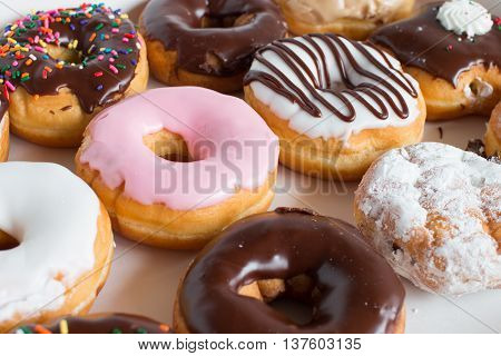 colorful and delicious donuts on the table
