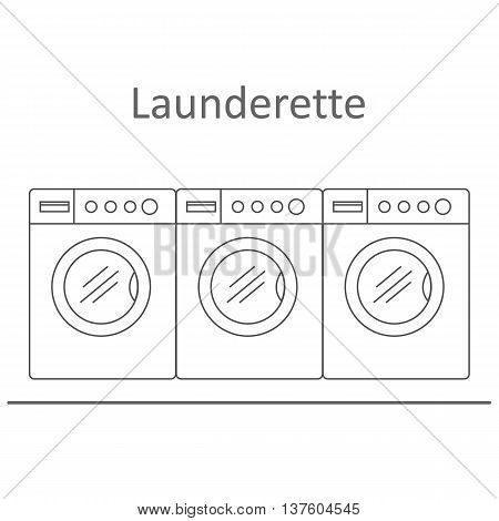 Launderette . Image of three washing machines on a blue background. Vector illustration.