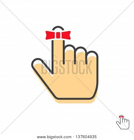 Reminder finger icon vector symbol with simple red string bow ribbon, pointer hand up with thumb in outline linear flat style, logo idea, label illustration design isolated on white background