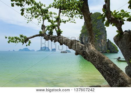 Tropical beach traditional long tail boats Andaman Sea Thailand. Ao Phra Nang.