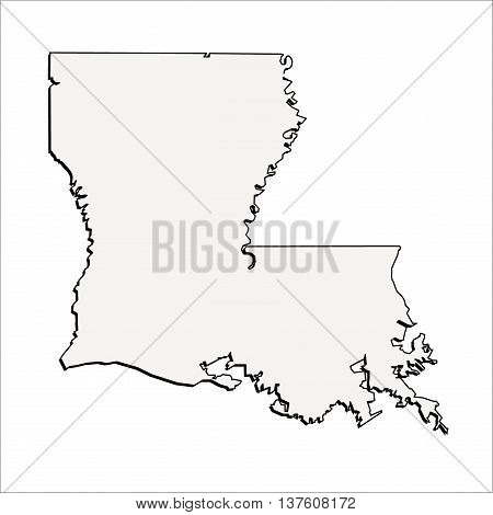 Vector Louisiana State USA 3D Outline Map