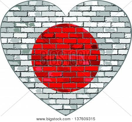 Flag of Japan on a brick wall in heart shape - Illustration, Japanese flag in brick style,  Abstract grunge Nippon flag