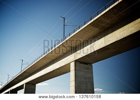 view of a high-speed viaduct in Roden, Zaragoza, Aragon, Spain. AVE Madrid Barcelona.