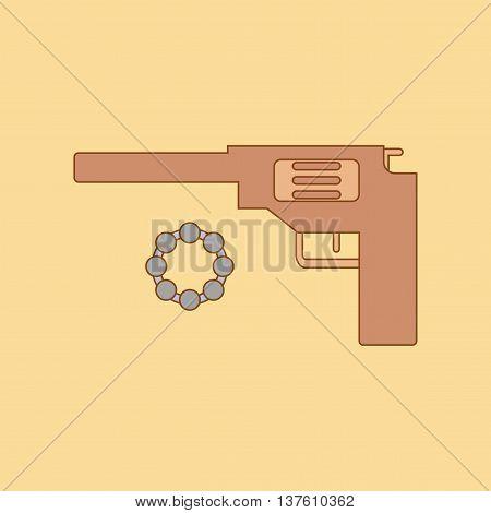 flat icon on stylish background Kids toy pistol
