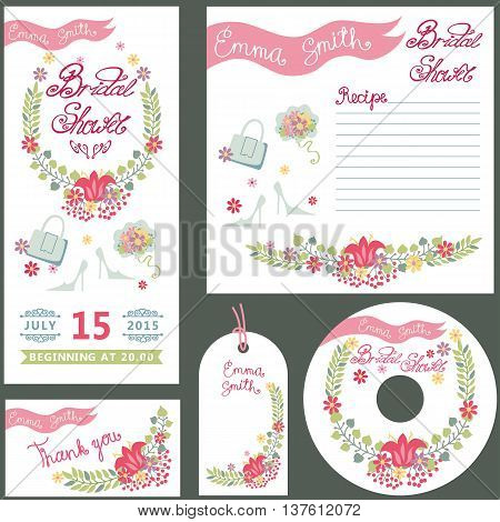Wedding Vintage floral Bridal shower set , invitations card, disk, gift tag , greeting template.Floral wreath, cute bouquet, ribbon, fashion accessories.Retro wedding Vector decor.