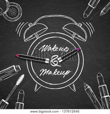 Vector Illustration Of Makeup Cosmetics, Alarm Clock On Black Bo