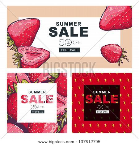 Set Of Summer Sale Banners With Hand Drawn Red Strawberries. Vec