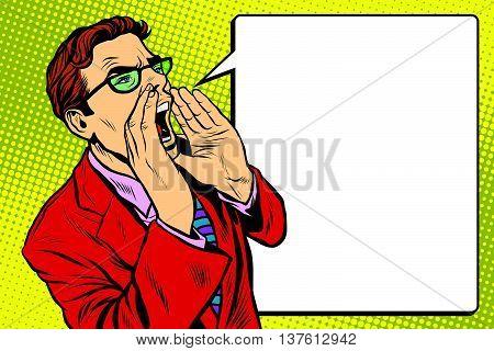 Pop art business man screaming. Pop art retro vector, realistic hand drawn illustration. Promo people