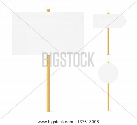 Banners mock up set wooden sticks isolated3d illustration. Wood pole signpost stick board mockup stand front. Clear round sign post in ground. Signage signpost empty surface. Billboard design signpost presentation.