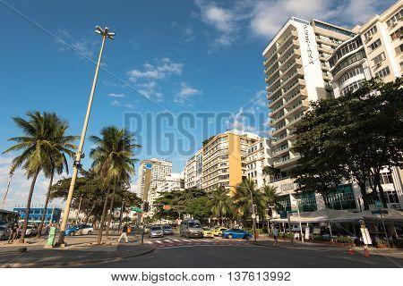 Rio de Janeiro, Brazil - July 7, 2016: Hotel and apartment buildings at the famous Avenida Atlantica avenue in Copacabana beach.