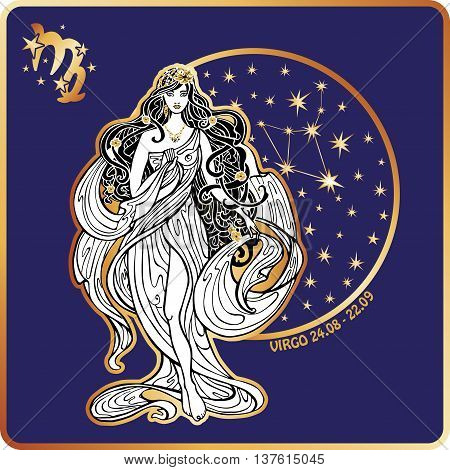 Virgo zodiac sign. Lovely female in Greek chiton dress and flowing hair standing on circle of horoscope signs with zodiac constellation.White figure on blue background.Graphic Vector Illustration in retro style, art Nouveau