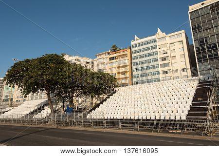 Temporary Spectator Seats Are Built in Avenida Atlantica Avenue in Rio de Janeiro