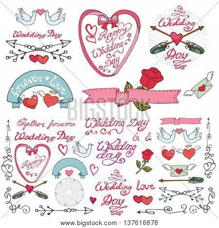 Wedding retro decor elements set in doodle doodle Hand drawn style.Vector decoration with frame, flowers, pigeons, arrows, borders, catchwords.Love romantic   Vintage illustration.For cards, labels, invitations