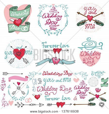 Wedding retro decor elements set in doodle doodle Hand drawn style.Vector decoration, hearts, frame, flowers, pigeons, arrows, borders and catchwords.Love , romantic , Vintage illustration.For cards, labels and invitations