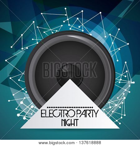 Electro and Dance Party represented by speaker icon over polygonal background. Colorfull and Flat vector illustration