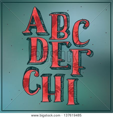 Colorful red 3d alphabet on blur blue background. Letters sequence from A to I good for lettering or decoration.Hand drawn vector illustration with hatch drawn with brush and stylish imperfections