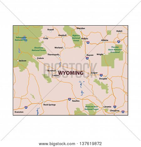 Vector Wyoming State Colour Map Major Roads